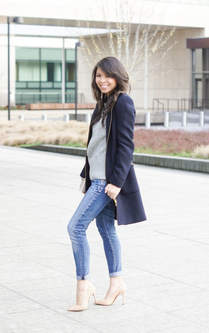 Cable Knit Sweater and Light Denim