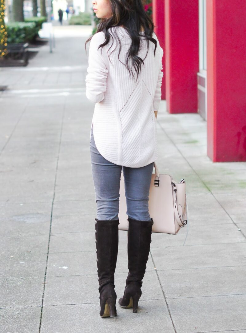 Blushing in Pink: Pink Sweater and Grey Jeans