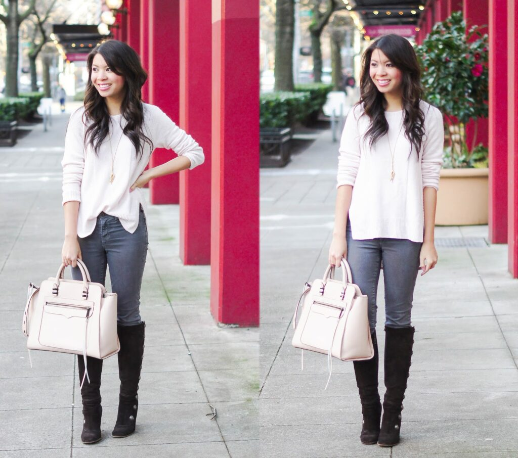 Blushing in Pink: Pink Sweater and Grey Jeans | Just a Tina Bit
