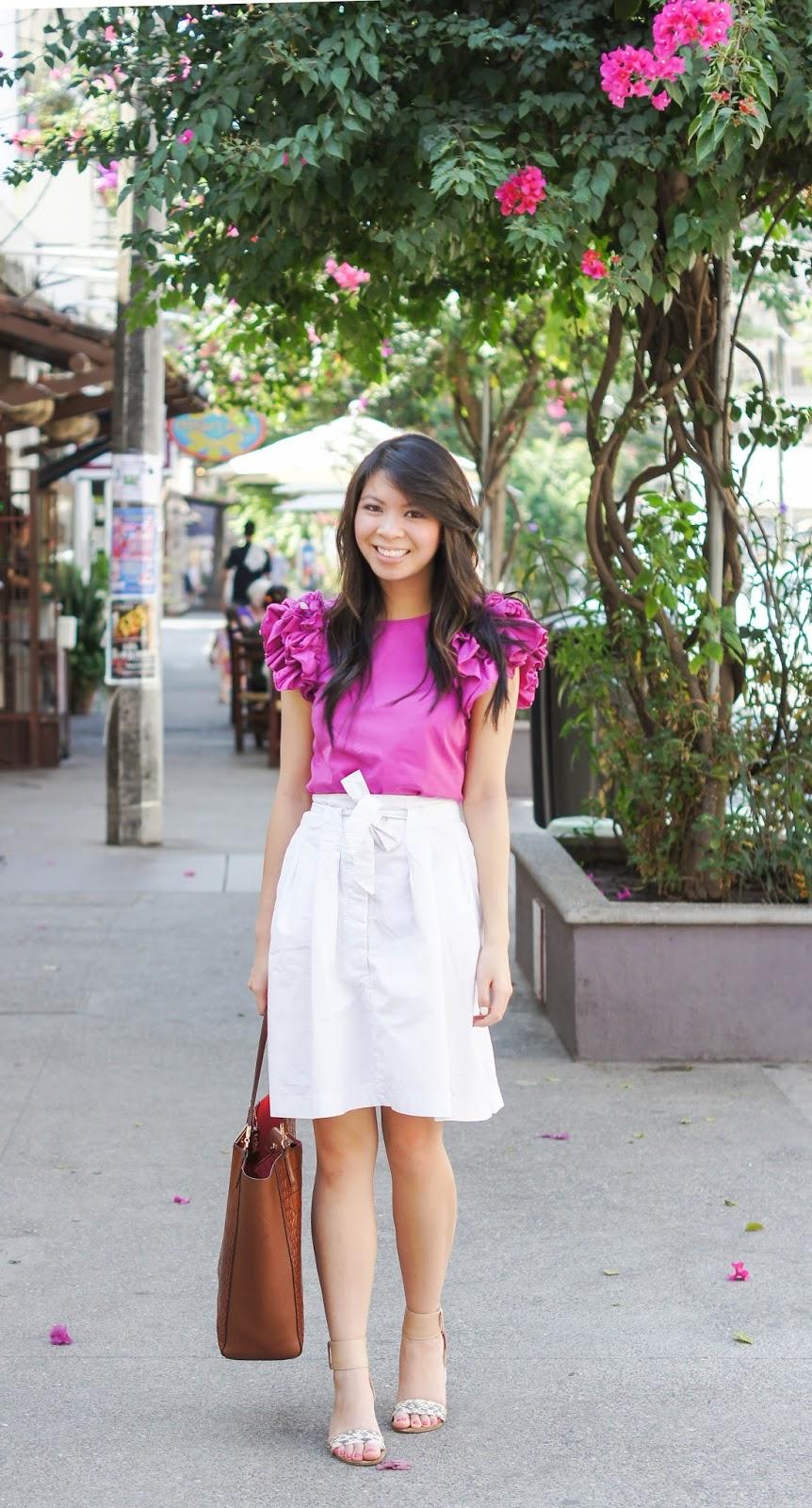 justatinabit-pink-ruffle-top-white-skirt-1