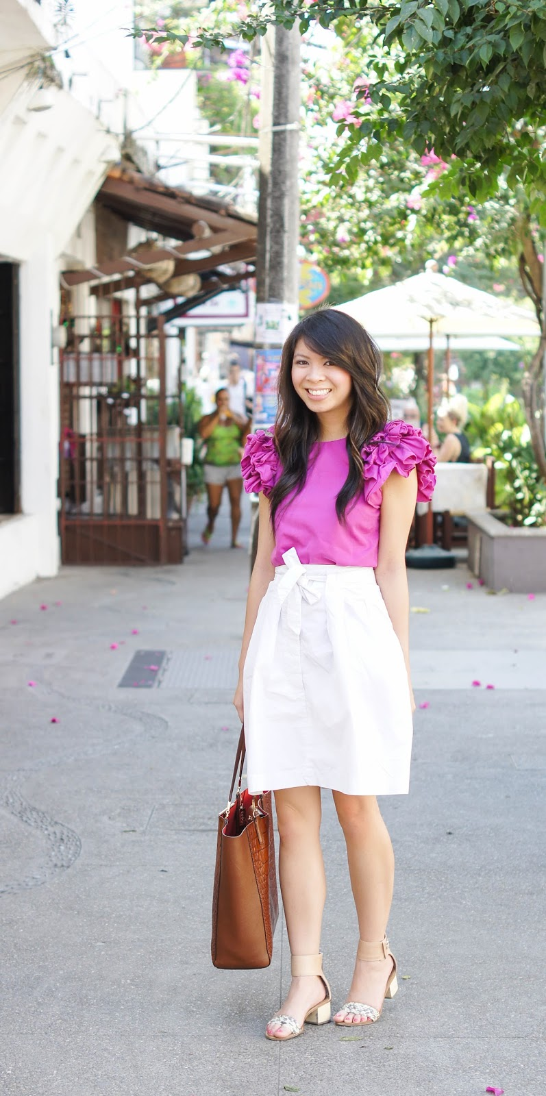 Pink Ruffle Top with White Skirt