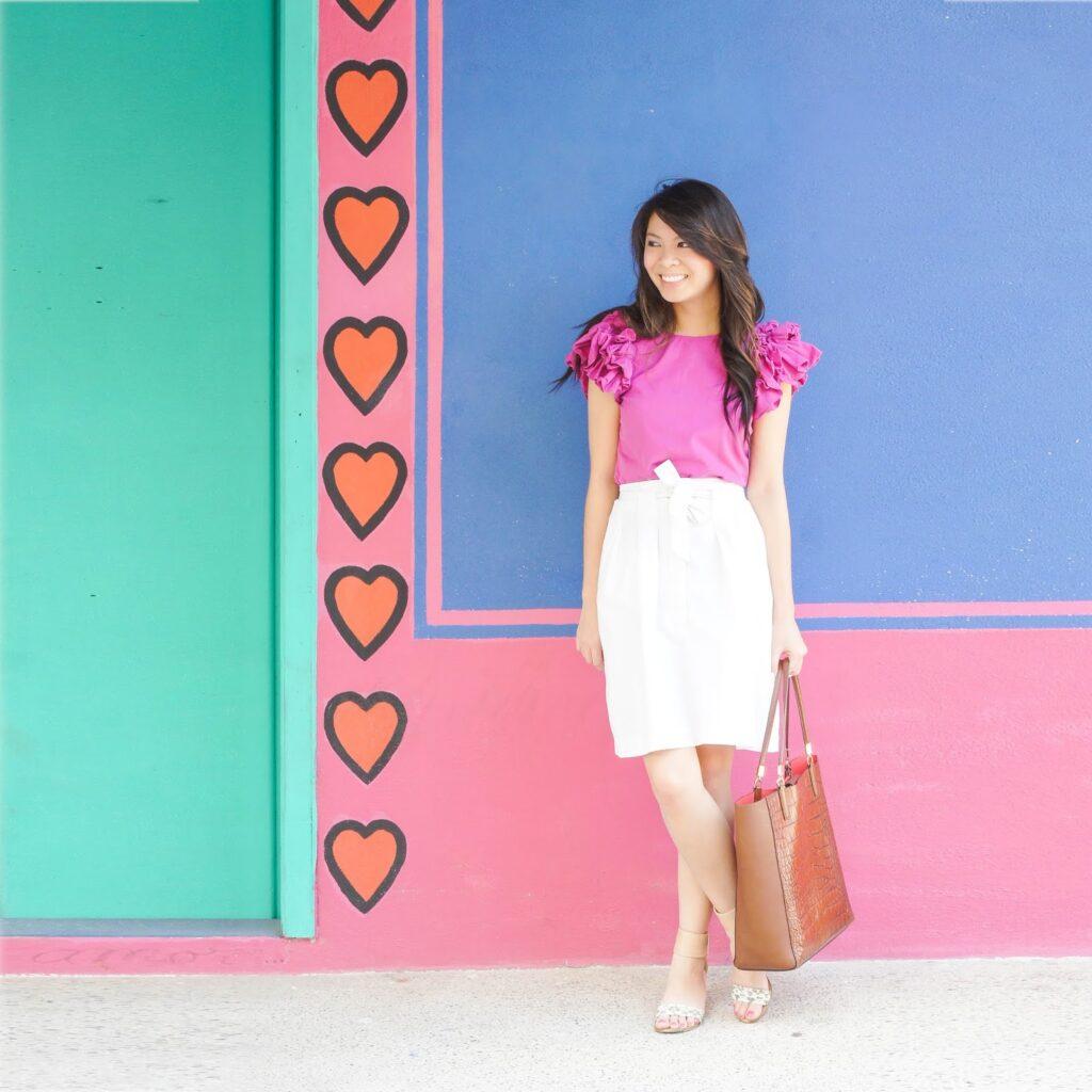 justatinabit-pink-ruffle-top-white-skirt-3