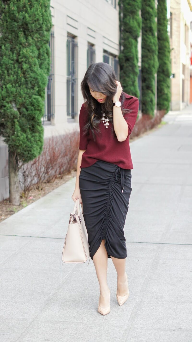 Keeping It Classy: 8telier Colette Skirt and Burgundy Sweater