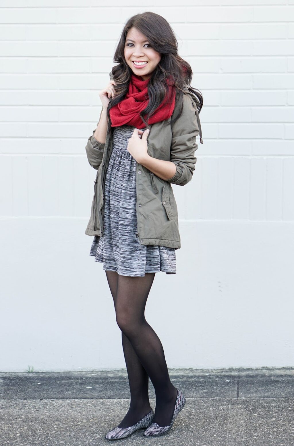 Casual Work Attire Skater Dress And Parka Jacket Just A