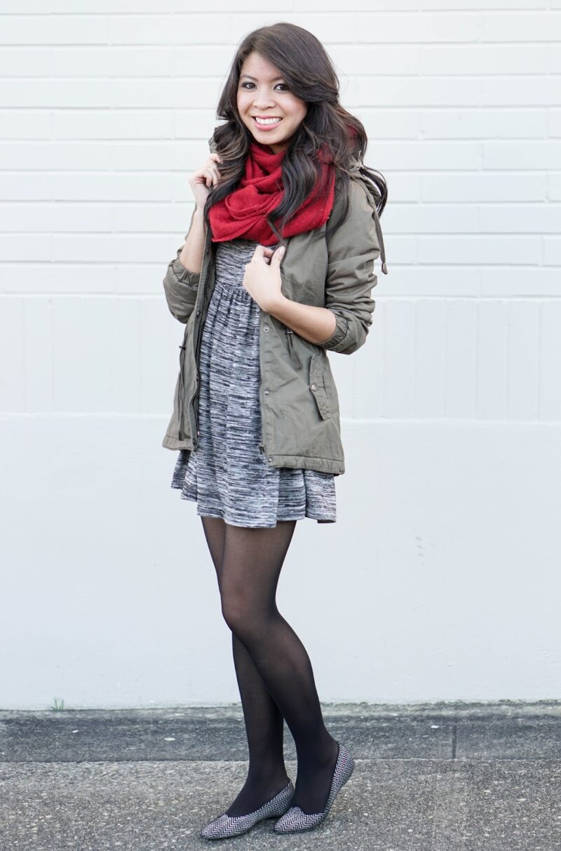 Casual Work Attire: Skater Dress and Parka Jacket