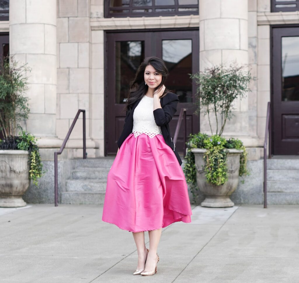 Bold in Pink: Midi Skater Skirt with Crop Top and Blazer | Just a ...