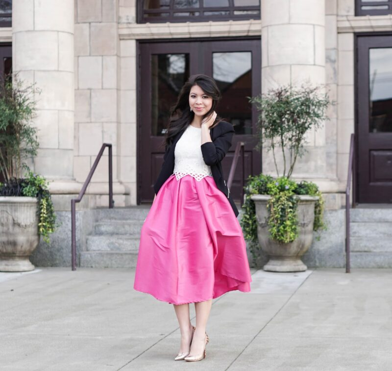 Bold in Pink: Midi Skater Skirt with Crop Top and Blazer