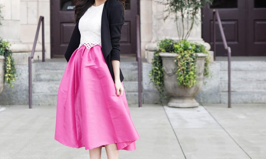 justatinabit-choies-pink-midi-skirt-astr-crochet-crop-top-blazer