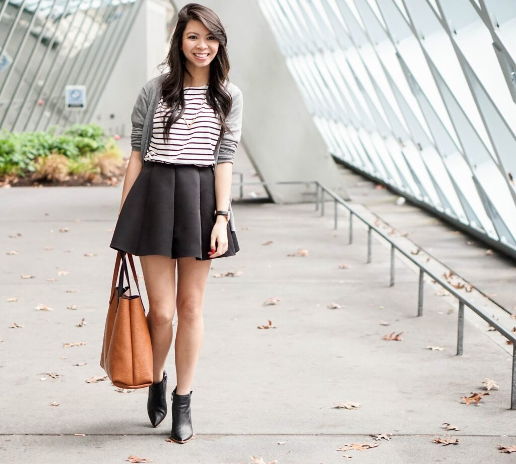 CHOiES: Striped Tee and Mini Pleated Skirt | Just a Tina Bit