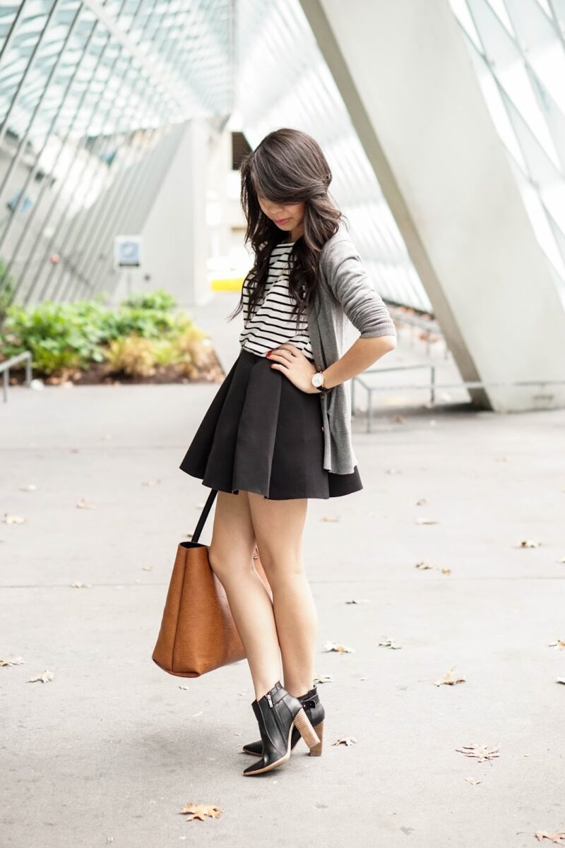 CHOiES: Striped Tee and Mini Pleated Skirt