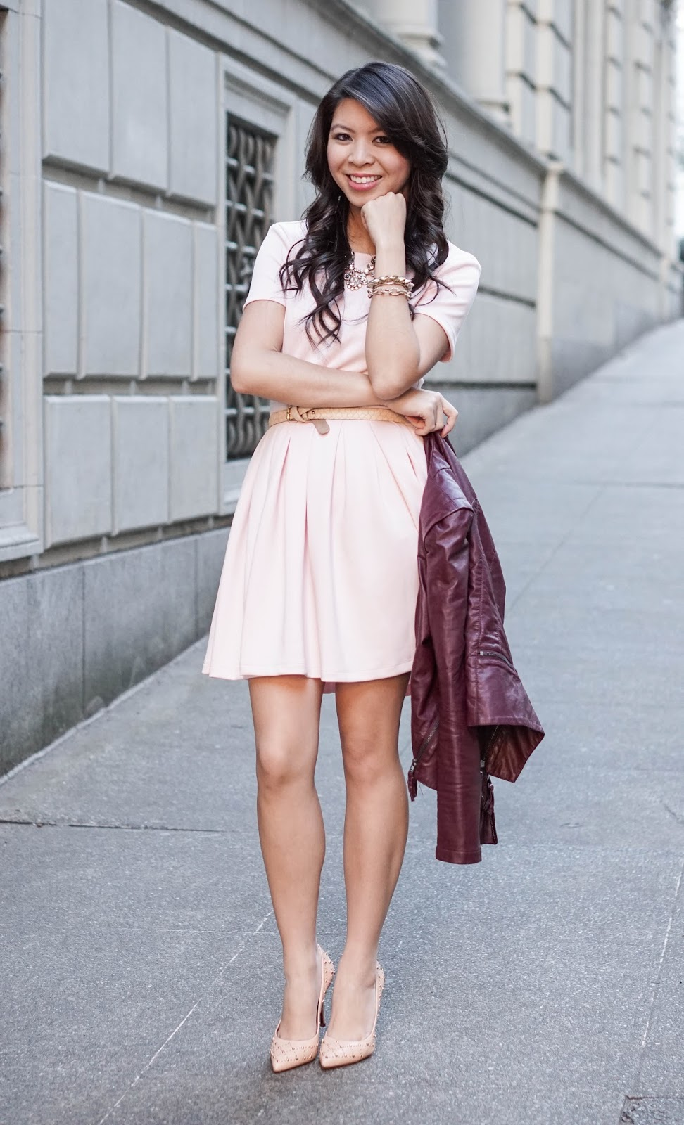 Pink Blush Tones Pink Wayf Dress And Burgundy Leather