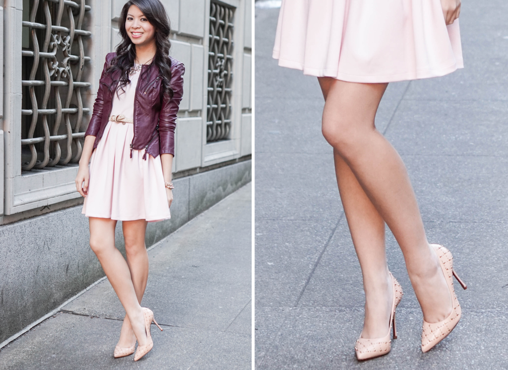Pink Blush Tones: Pink Wayf Dress and Burgundy Leather Jacket ...