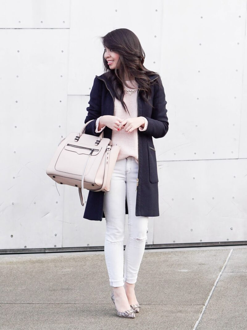 Polished: Pink Waffle Sweater and White Jeans
