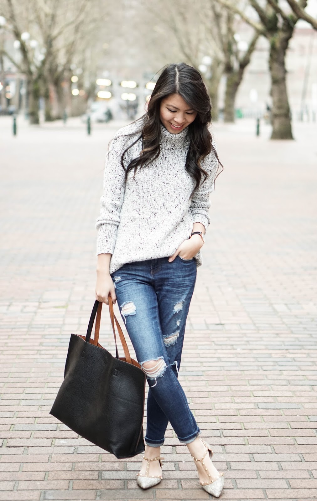 Brunch Attire Knit Sweater Ripped Jeans and Studded Flats | Just A Tina Bit