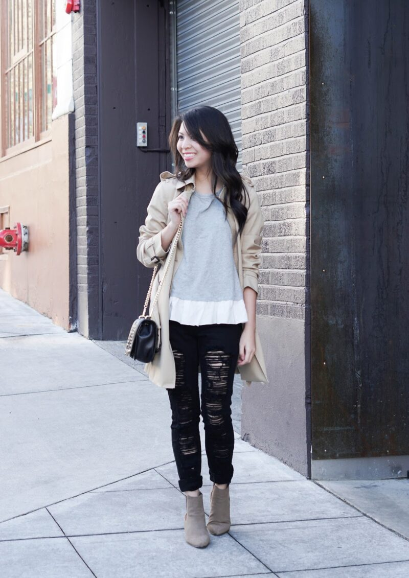 Minimalist: Trench Coat w/ Ruffled Top and Distressed Jeans