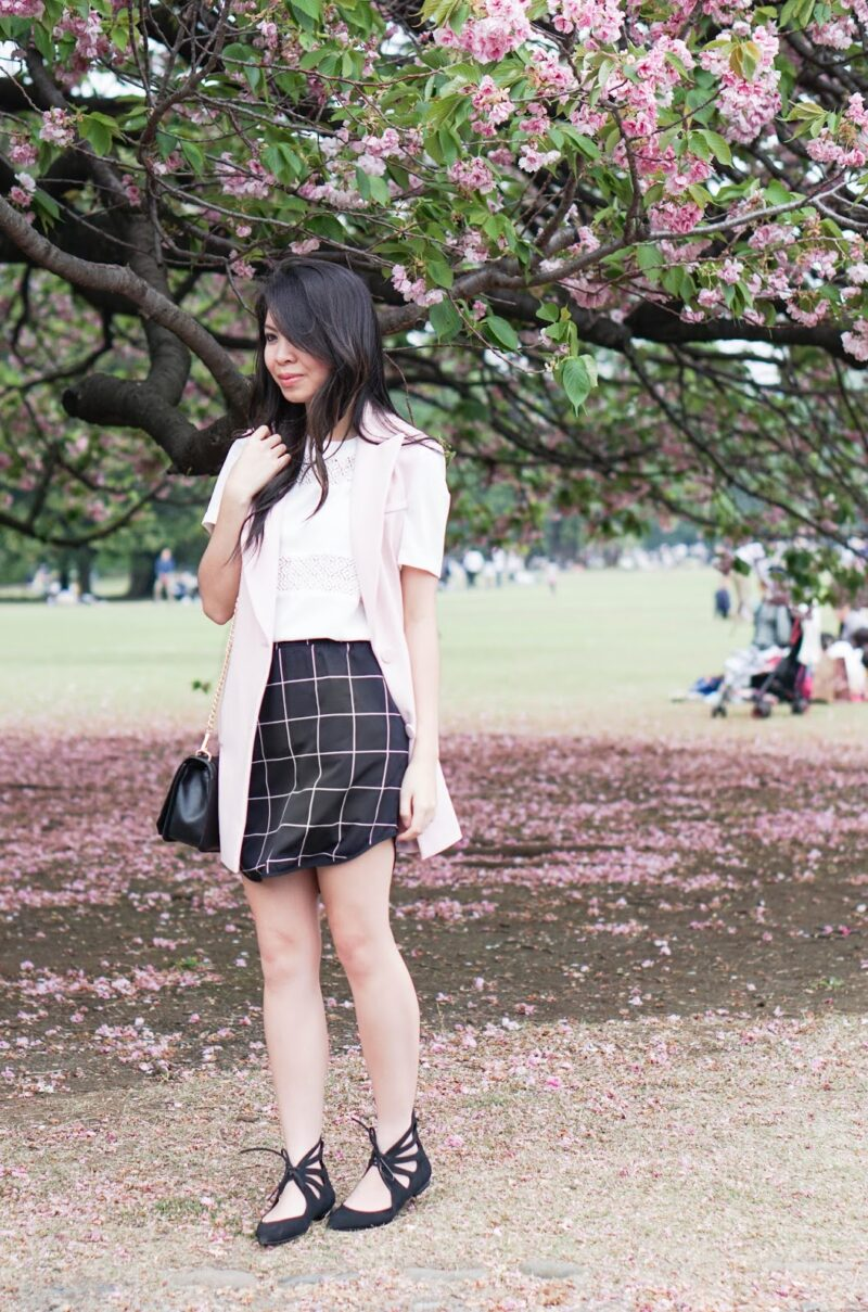 Japan Edition: Pink Vest with Checked Skirt and Laced-Up Flats