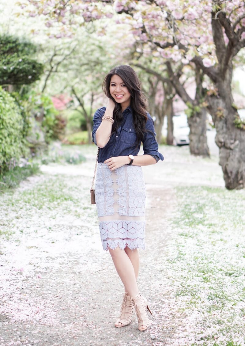 Spring Style: Lace Pencil Skirt and Chambray Shirt