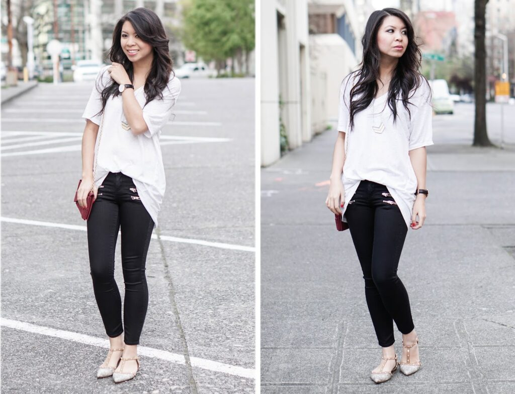 Black & White: Plain Tee and Zippered Jeans | Just a Tina Bit