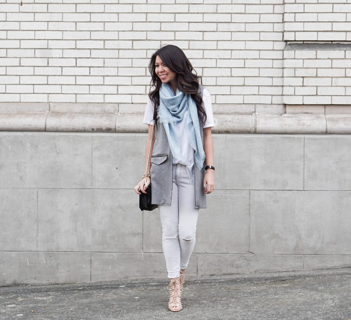 ab54a774b2e Neutral Palette  Topshop Vest w  White Jeans and Tee