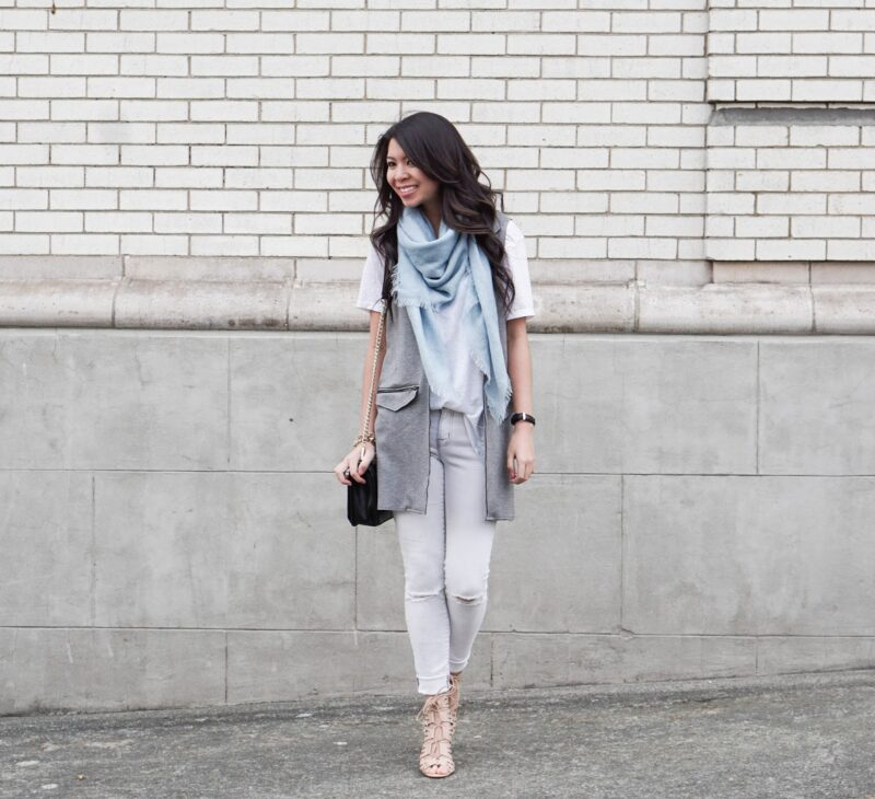 Neutral Palette: Topshop Vest w/ White Jeans and Tee