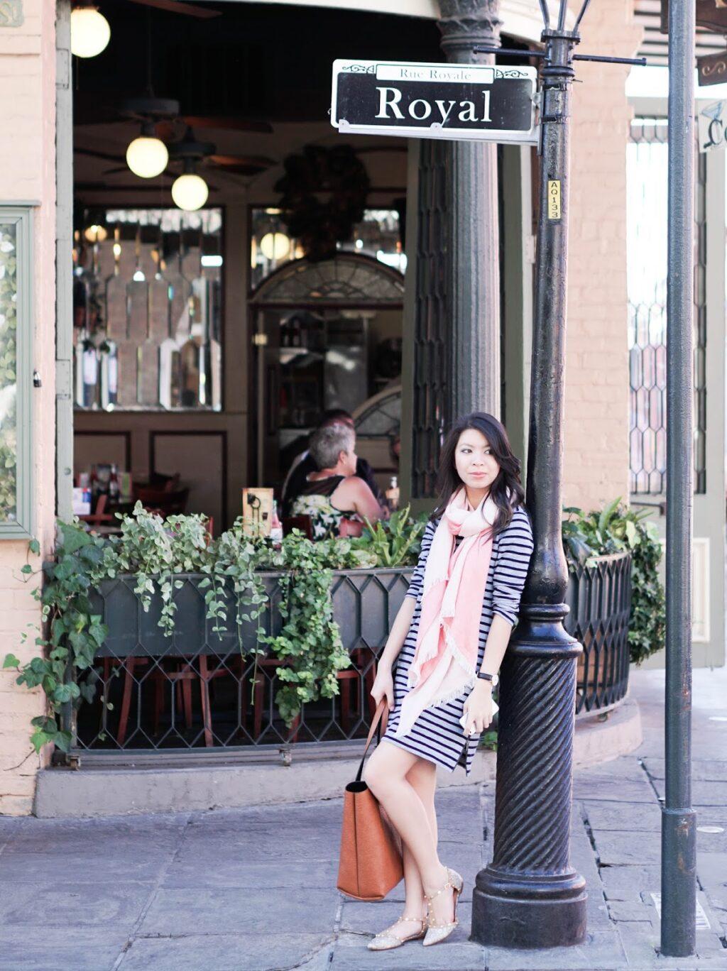 justatinabit-jcrew-striped-tee-dress-zipped-side-halogen-scarf-olson-pointy-flats