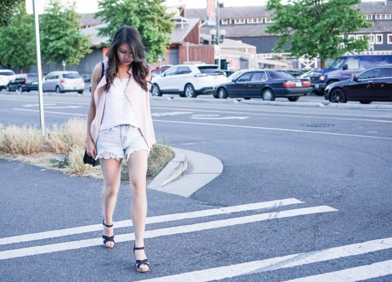 Summer Layers: Sleeveless Moto Vest and Laced Denim Cutoffs