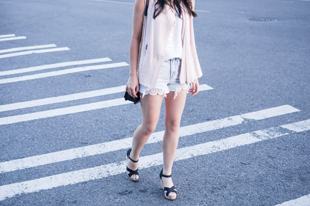 justatinabit-1.state-zip-front-moto-vest-blush-denim-cutoff-scallop-lace-shorts-toms-wedge-sandals-trouve-stripe-tank-outfit-summer