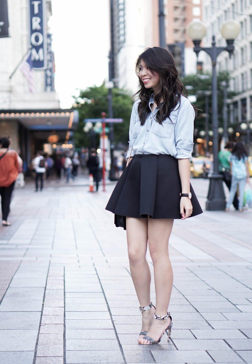 justatinabit-club-monaco-rylie-enamel-button-up-denim-chambray-shirt-choies-black-pleated-flare-skirt-shoedazzle-ankle-strap-tinsley-shoes