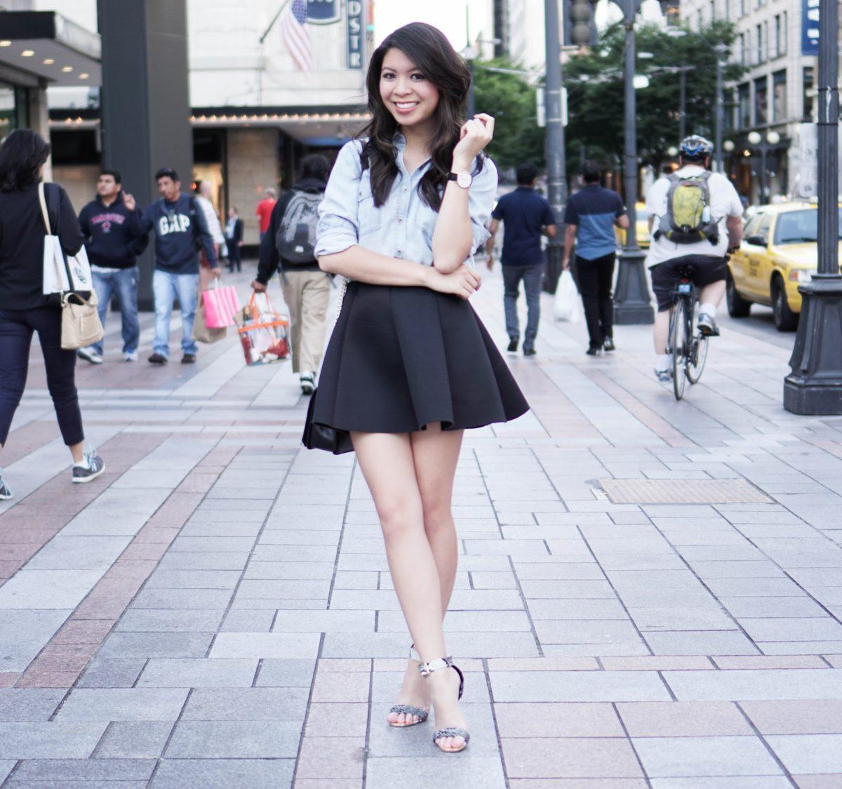 12ba9c774 Chambray & Neoprene: Denim Shirt w/ Pleated Skirt | Just A Tina Bit