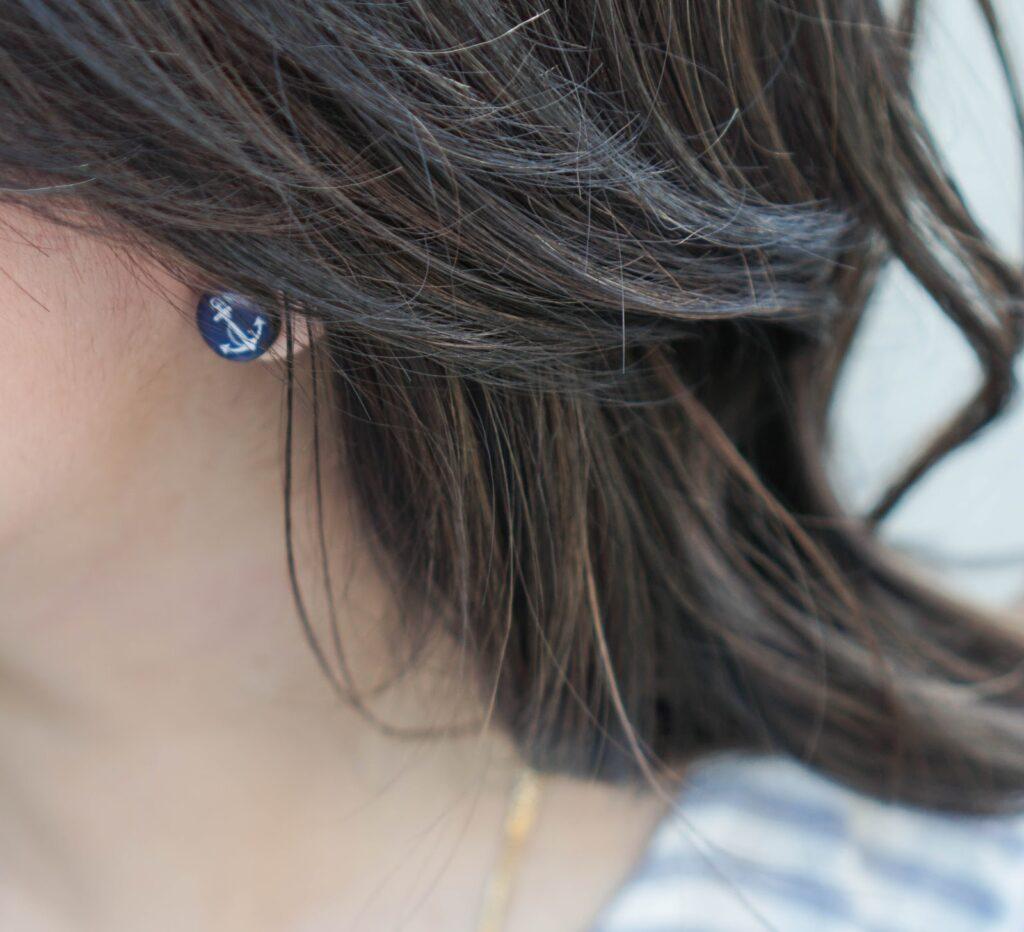 justatinabit-light-blue-tie-waist-stripe-peplum-top-nautical-anchor-earrings-lace-up-nude-heels