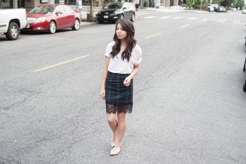 Casual Spin: White Tee & Plaid Lace Hemline Pencil Skirt