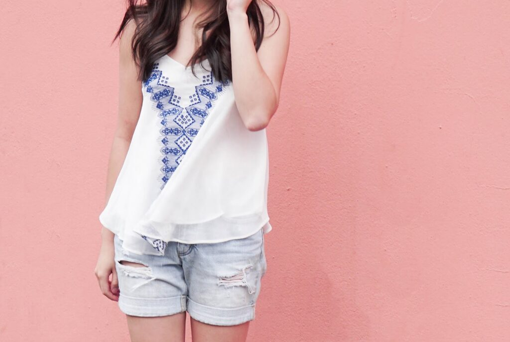 justatinabit-lucy-paris-embroidered-racerbank-camisole-tank-ripped-denim-shorts-summer-outfit