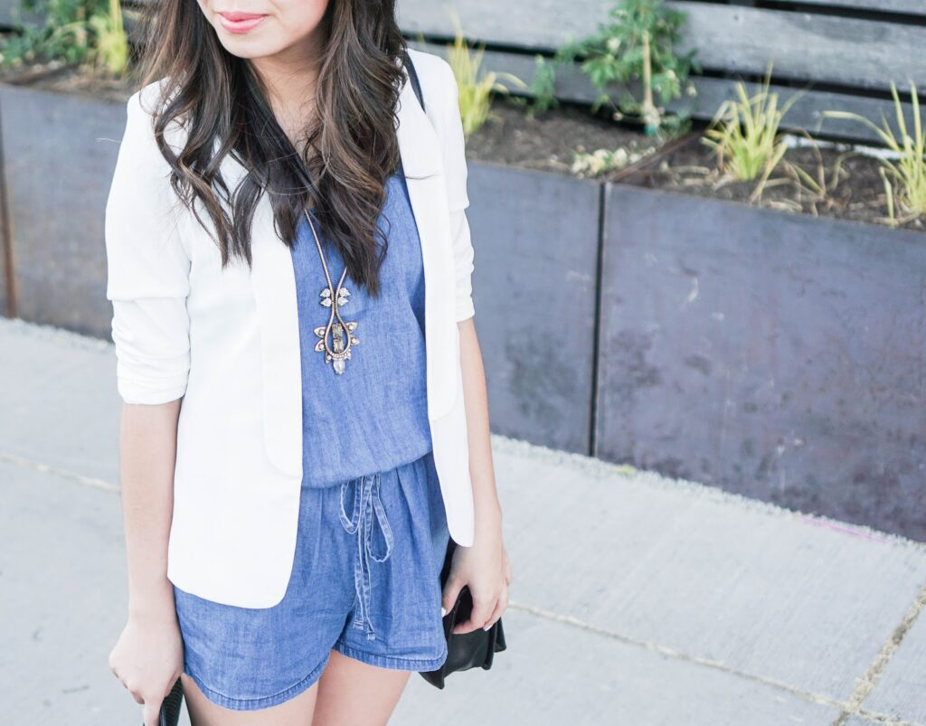justatinabit-old-navy-sleeveless-chambray-romper-white-blazer-floppy-hat-toms-canvas-wedge-sandals-outfit-summer