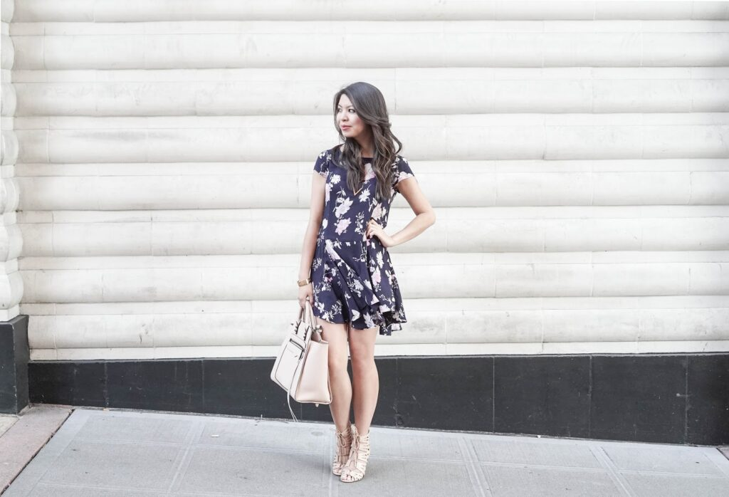 justatinabit-urban-outfitters-cooperative-floral-flare-dress-caged-heels-rebecca-minkoff-avery-bag
