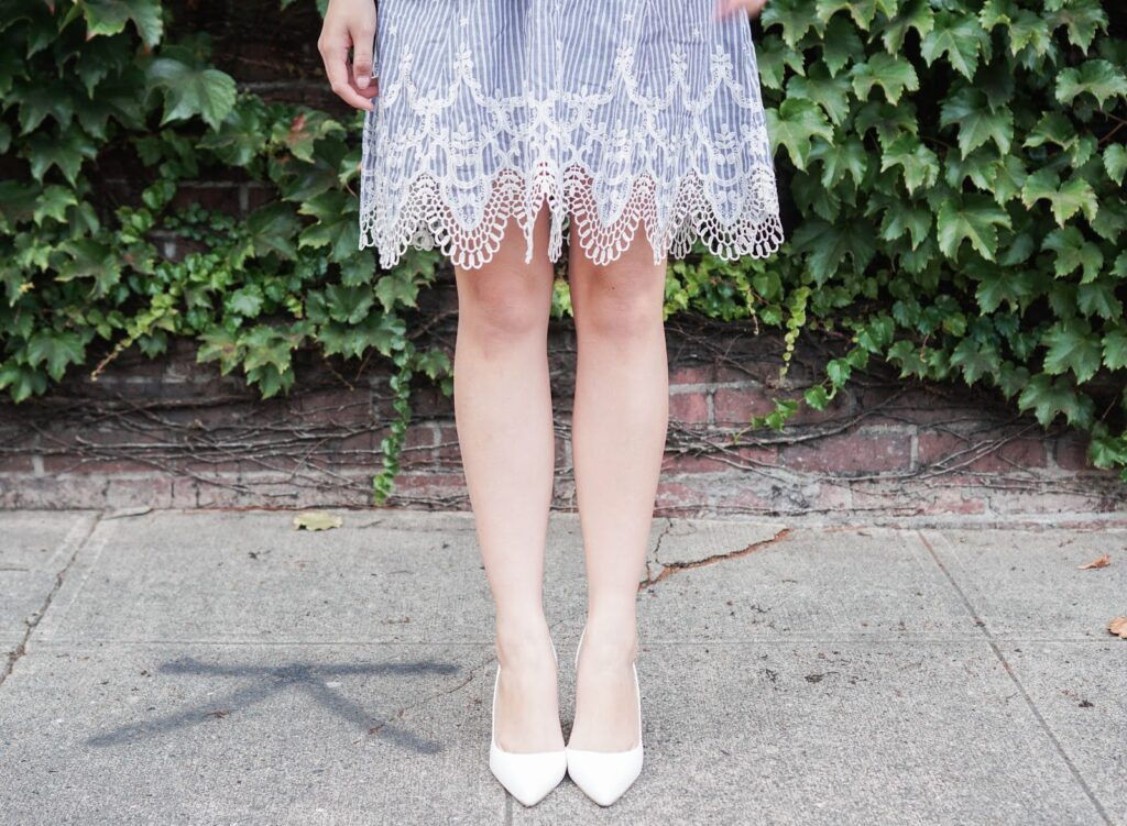 greylin-mindi-lace-trim-dress-summer-outfit-aldo-white-pumps-heels