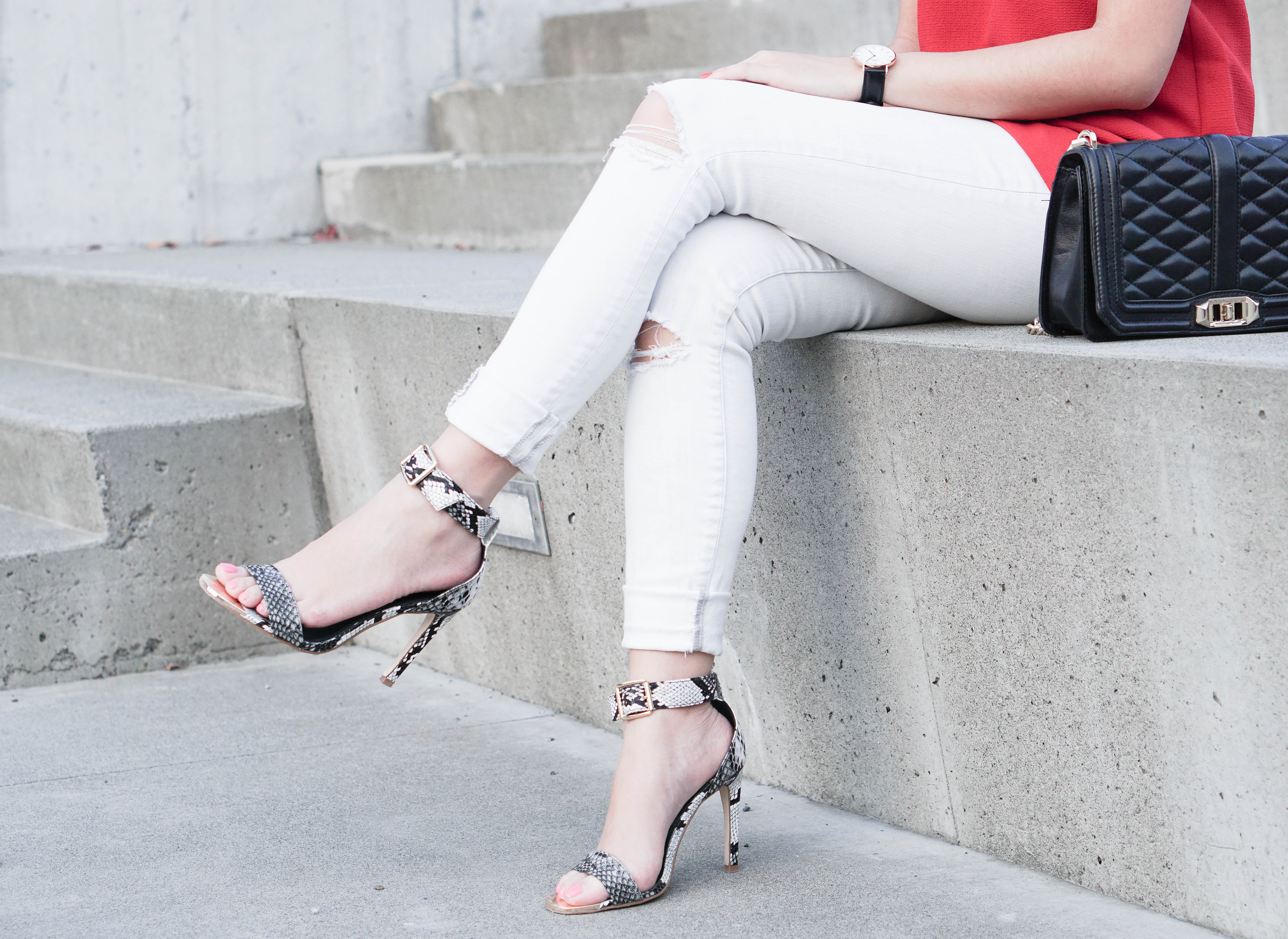 Skinny white jeans and Shoedazzle faux snake-skin heels