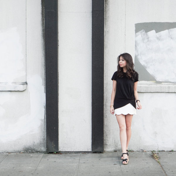 Stateside knot tee with Topshop scallop hem skirt and Toms sandals