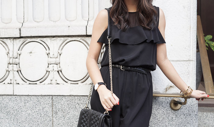1.state ruffle chiffon jumpsuit, daniel wellington watch, gold bracelets