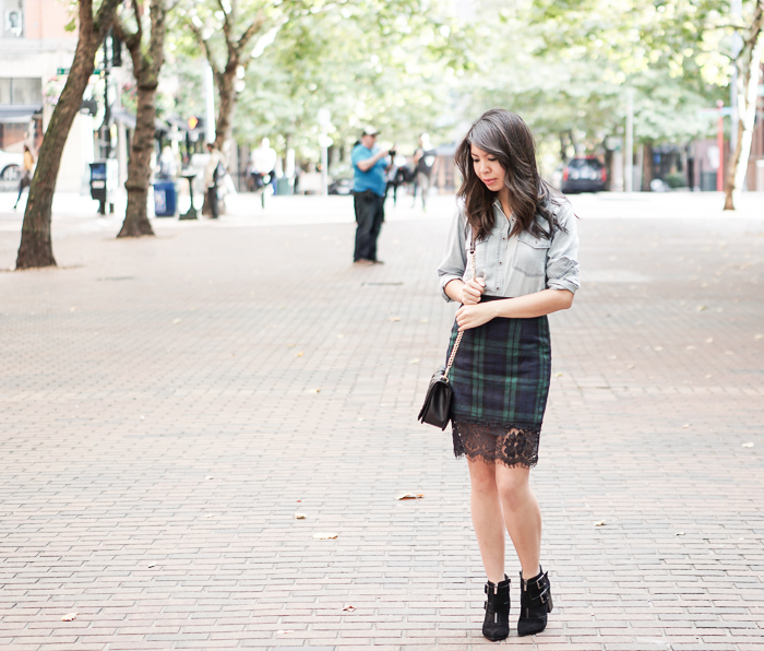Choies plaid pencil skirt with lace hem, restricted shoes jet set black suede pointed toe booties, club monaco chambray shirt, fall outfit