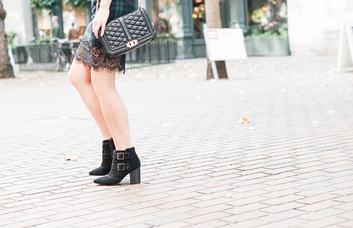 Choies plaid pencil skirt with lace hem, restricted shoes jet set black suede pointed toe booties, street style