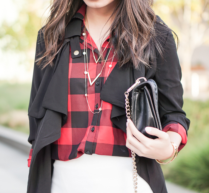 Plaid Shirt Dress and Drape Trench Coat
