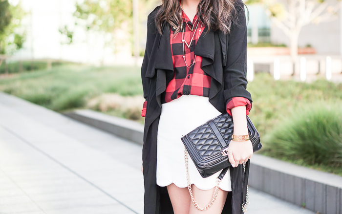 glamorous drape trench coat, bb dakota plaid shirt dress, topshop scallop skirt