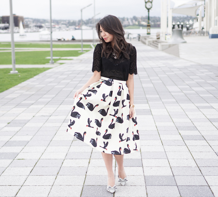 shein light yellow swan print midi skirt, black lace top, steve madden bow ravesh pumps summer outfit