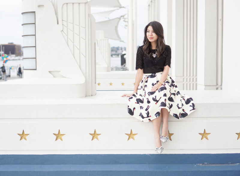 Swan Print Midi Skirt and Black Lace Top