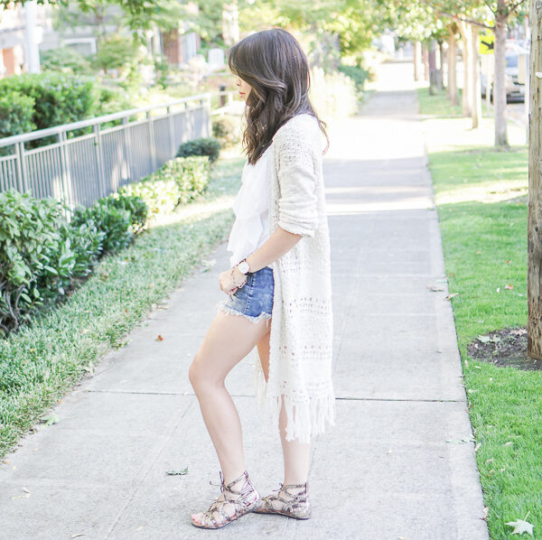 sun and shadow long cardigan, denim shorts, caged sandals