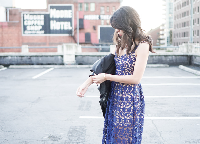 toby heart ginger lace midi dress, blanknyc faux leather jacket