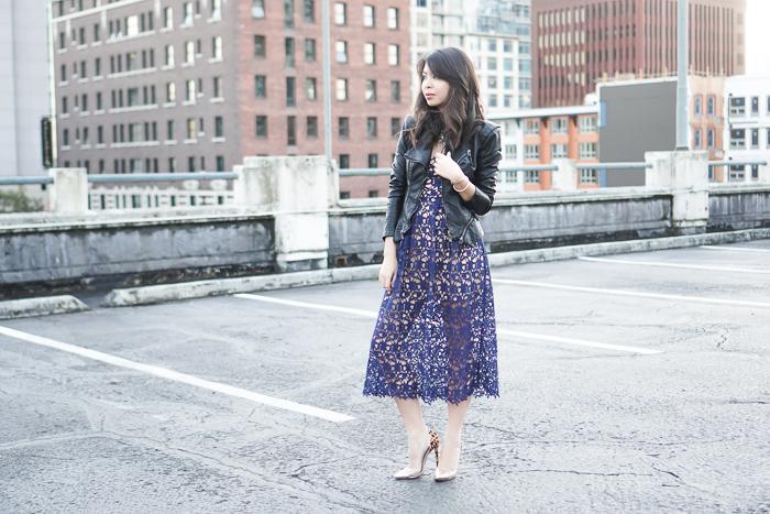 toby heart ginger lace midi dress, blanknyc faux leather jacket, leopard heels
