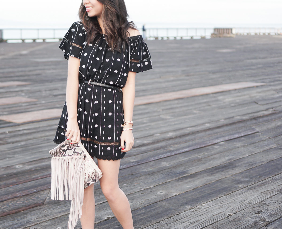 topshop embroidered off the shoulder dress, fringe bag