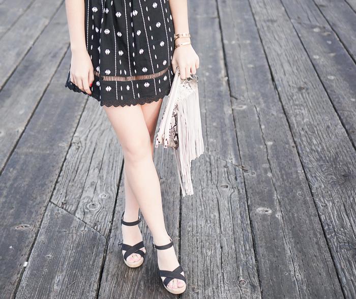 topshop embroidered off the shoulder dress, toms canvas ankle strap wedge sandal, fringe bag