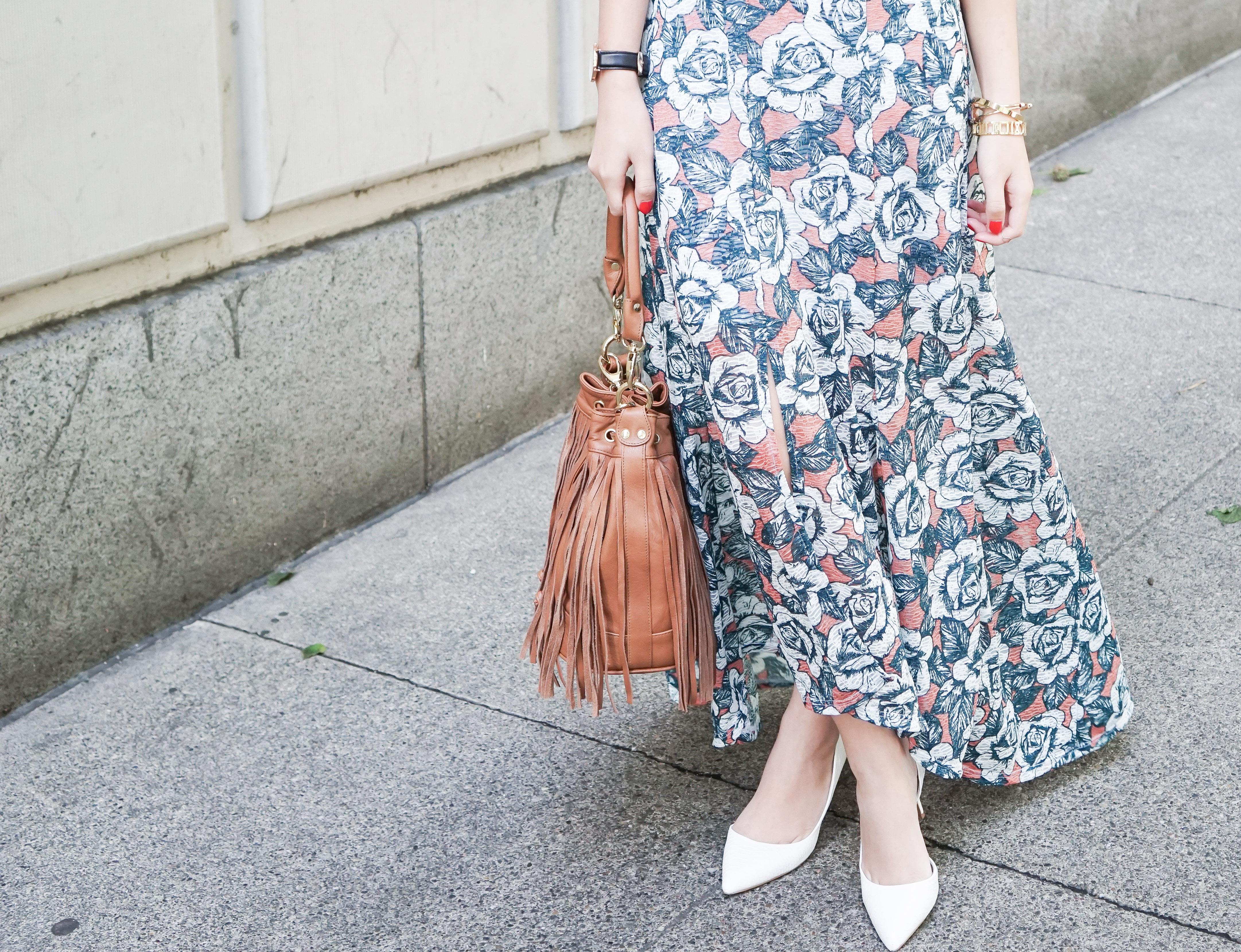 topshop floral print split front maxi skirt, nyc pietro fringe bag, aldo aceidia pumps